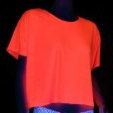 UV Schwarzlicht Blacklight LadiesBoxy Tee Shirt Neon Pink Gr.S
