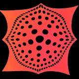 "Schwarzlicht Psywork Segel Deko Stretch Spandex ""Mandala Dots Red"""