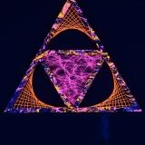 """Schwarzlicht Psywork StringArt Deko Dreieck - Mind Change System """"Dark Psy Orange Triangle"""""""