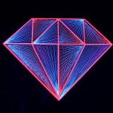 "2D StringArt Deko Objekt Diamant ""Pink Diamond"""